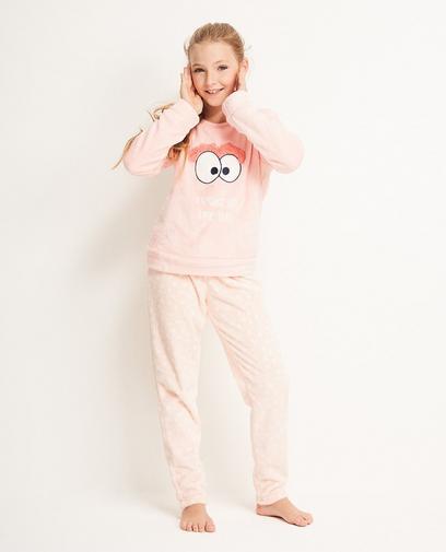Pyjama rose en fleece